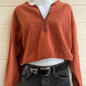 {uo} cropped zip sweatshirt